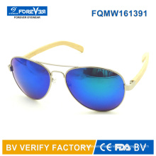 Fqmw161391 Good Quality Metal Sunglass with Bamboo Temple